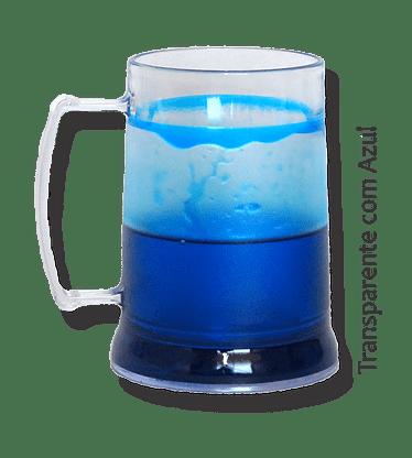 Caneca de Gel azul transparente